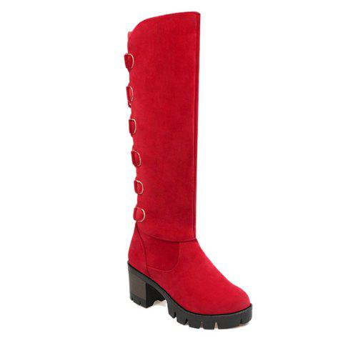 Outfits Tie Up Tassels Platform Knee High Boots - RED 37 Mobile