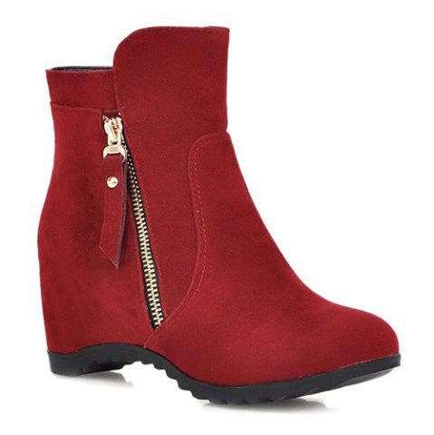 Affordable Zip Hidden Wedge Ankle Boots RED 39