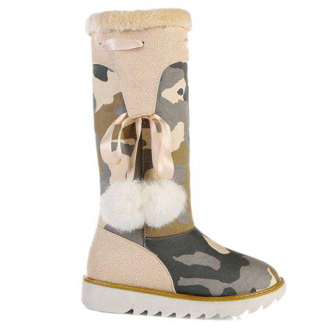 Camouflage Pattern Pompon Snow Boots - Beige - 39