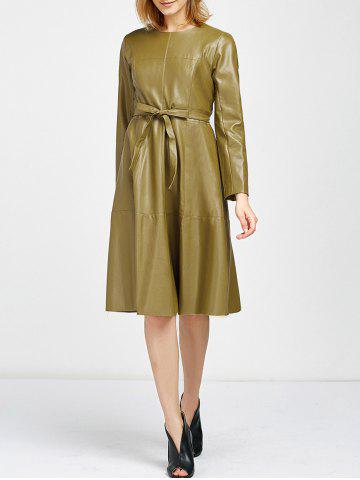 Best Belted Faux Leather Flare Dress
