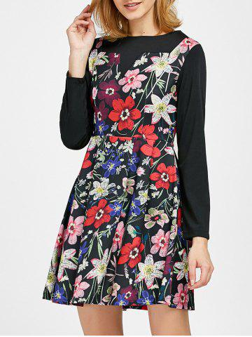 Trendy Long Sleeve Floral Printed A Line Dress