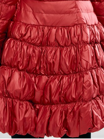 Shop Long Skirted Down Coat With Fur Hood - S RED Mobile