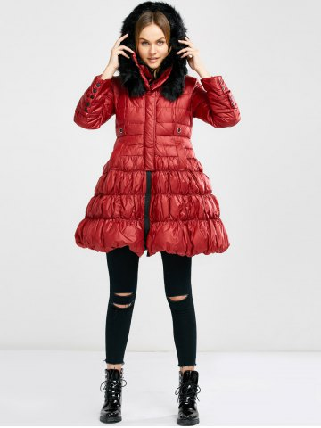 Trendy Long Skirted Down Coat With Fur Hood - S RED Mobile
