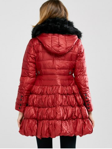 New Long Skirted Down Coat With Fur Hood - S RED Mobile