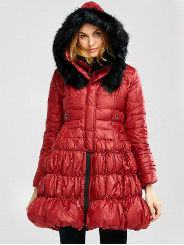 Fashion Long Skirted Down Coat With Fur Hood - S RED Mobile