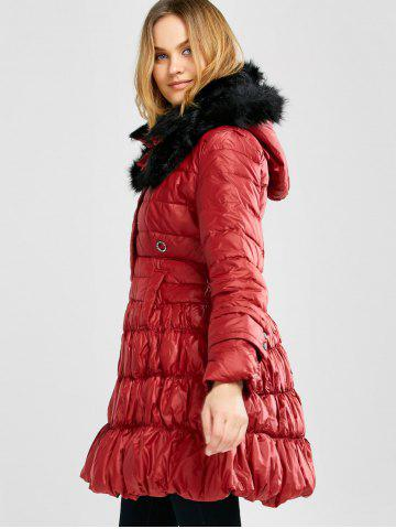 Affordable Long Skirted Down Coat With Fur Hood - S RED Mobile