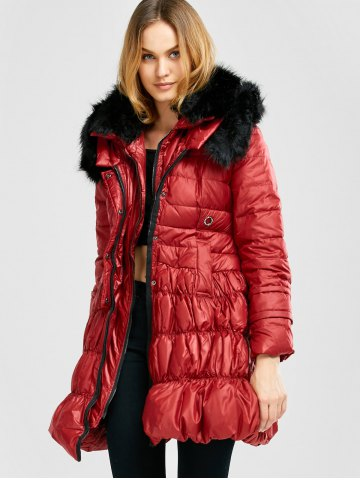 Latest Long Skirted Down Coat With Fur Hood - S RED Mobile