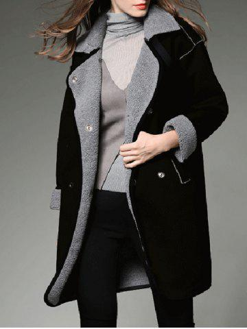 Sale Contrast Sherpa Fleece Long Lined Coat - L BLACK Mobile