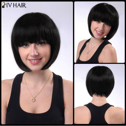 Discount Short Shaggy Neat Bang Straight Bob Siv Human Hair Wig