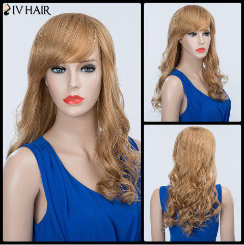 New Long Wavy Oblique Bang Fluffy Siv Human Hair Wig