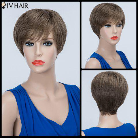 Outfit Short Layered Oblique Bang Fluffy Straight Siv Human Hair Wig