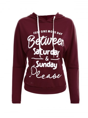 Outfits Color Block Drawstring Graphic Hoodie WINE RED XL