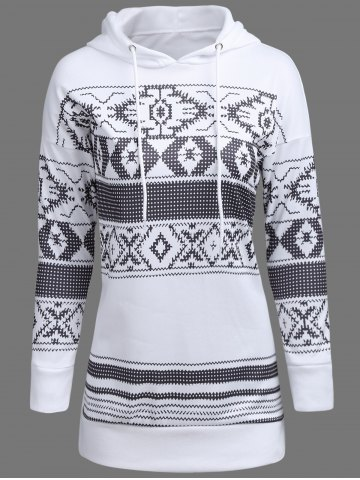 Outfit Drawstring Longline Graphic Hoodie WHITE XL
