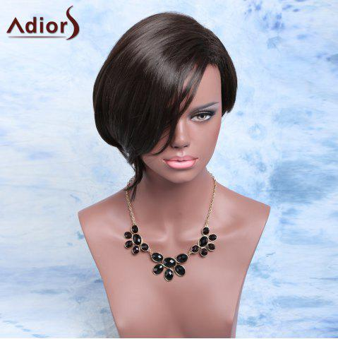 Adiors Short Asymmetric Fluffy Side Parting Bob Synthetic Wig - Black