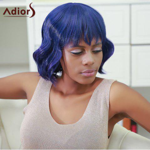 Adiors Short Fluffy Full Bang Wavy Color Mixed Synthetic Wig