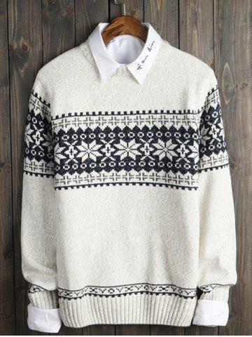 Unique Crew Neck Snowflake Graphic Christmas Sweater OFF WHITE 2XL