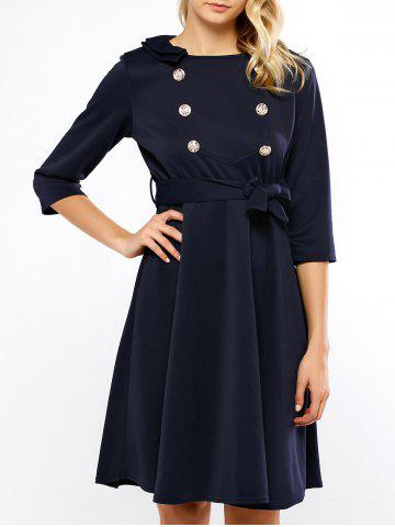 Hot Double Breasted Belted Swing Dress
