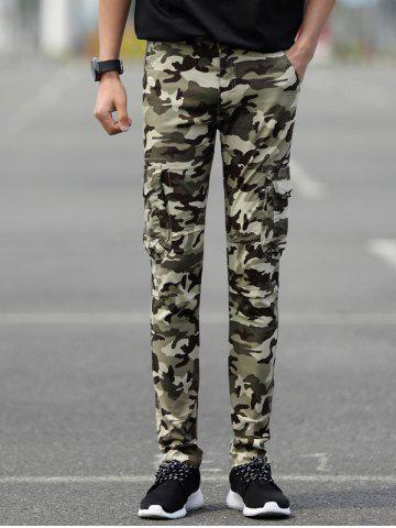 Slim Fit Camo Cargo Pants with Pockets