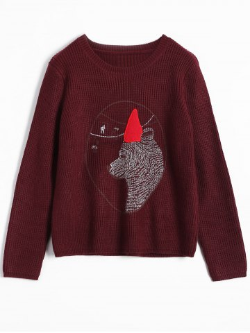 Outfit Patterned Sweater BURGUNDY ONE SIZE
