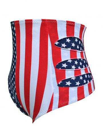 Fancy Flag Distressed Vintage Cheeky High Waisted Bikini Shorts - M BLUE AND RED Mobile
