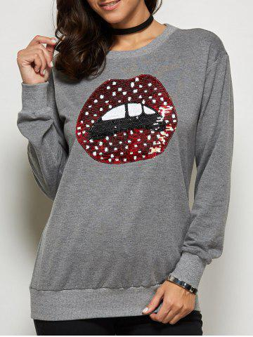 Online Sequined Mouth Pattern Sweatshirt