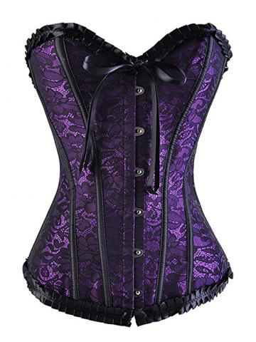 Trendy Strapless Lace Up Underbust Steel Boned Corset PURPLE XL