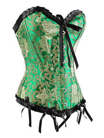 Affordable Strapless Jacquard Underbust Corset - M GREEN Mobile