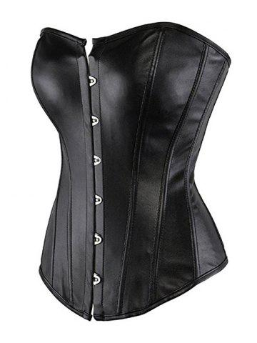 Outfits Strapless PU Steel Boned Corset - 2XL BLACK Mobile