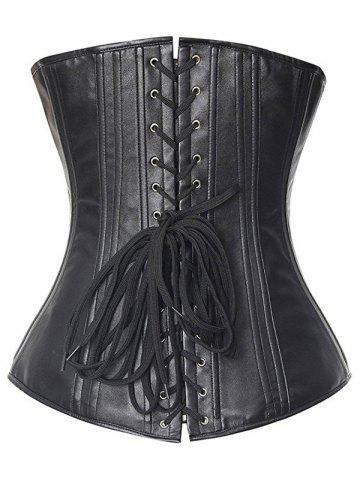 Sale Lace Up Strapless Waist Slimming Steel Boned Corset - XL BLACK Mobile