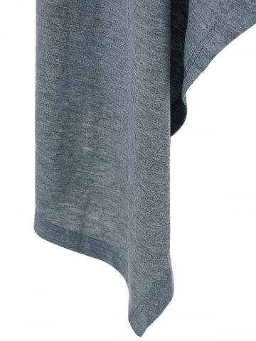 Online High Low Hem Long Sleeve Casual Dress - L GRAY Mobile
