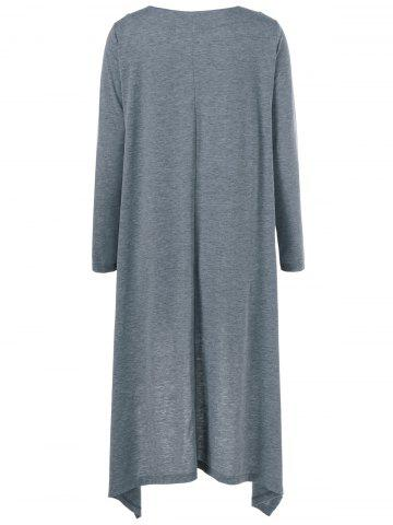 Trendy High Low Hem Long Sleeve Casual Dress - L GRAY Mobile