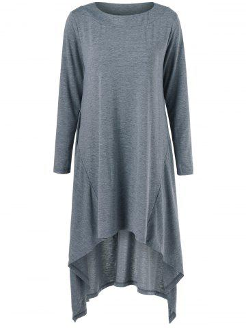 Trendy High Low Hem Long Sleeve Casual Dress - XL GRAY Mobile