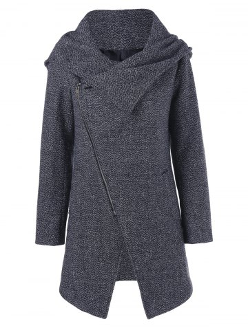 Shops Inclined Zip Hooded Coat