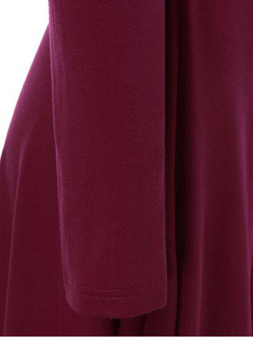 Store Hooded High Low Hem Dress - L DARK RED Mobile