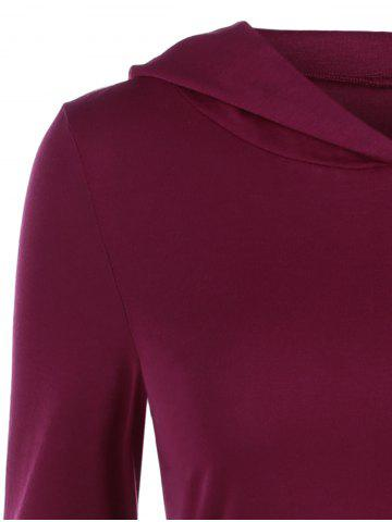 New Hooded High Low Hem Dress - L DARK RED Mobile