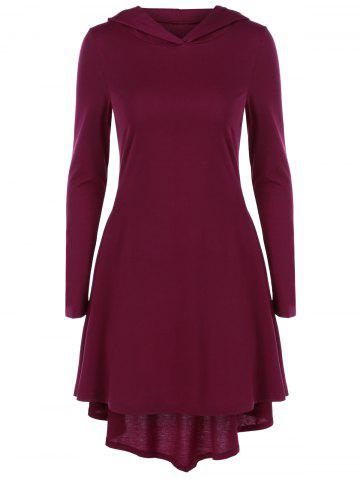 Outfit Hooded High Low Hem Dress - XL DARK RED Mobile