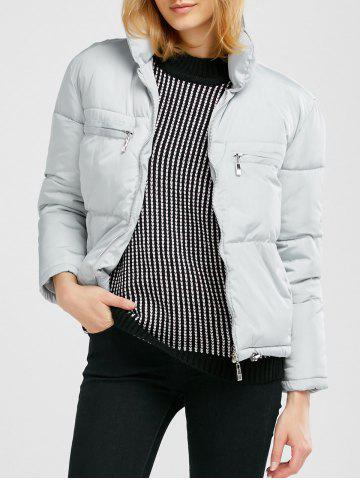 Store Stand Collar Zipper Padded Jacket - M GRAY Mobile