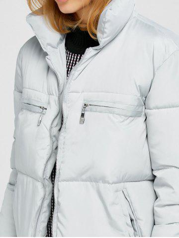 Outfits Stand Collar Zipper Padded Jacket - M GRAY Mobile