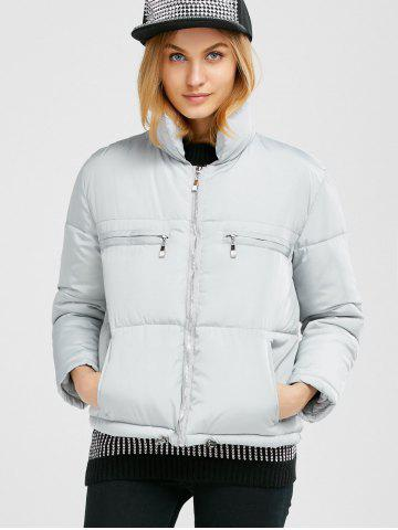 Buy Stand Collar Zipper Padded Jacket - M GRAY Mobile