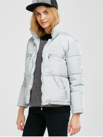 Unique Stand Collar Zipper Padded Jacket - M GRAY Mobile