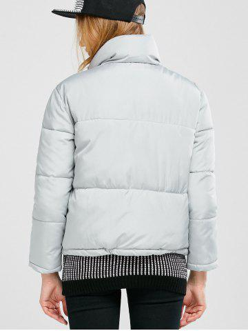 Chic Stand Collar Zipper Padded Jacket - M GRAY Mobile