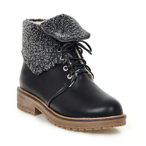 Outfits Lace Up Faux Shearling Lined Fold Over Ankle Boots