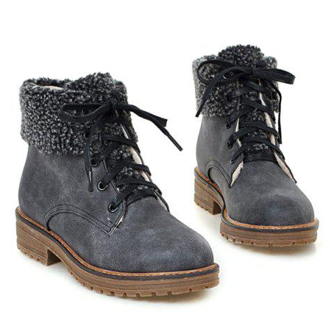 Chic Faux Fur Trim Lace Up Ankle Boots - 39 GRAY Mobile