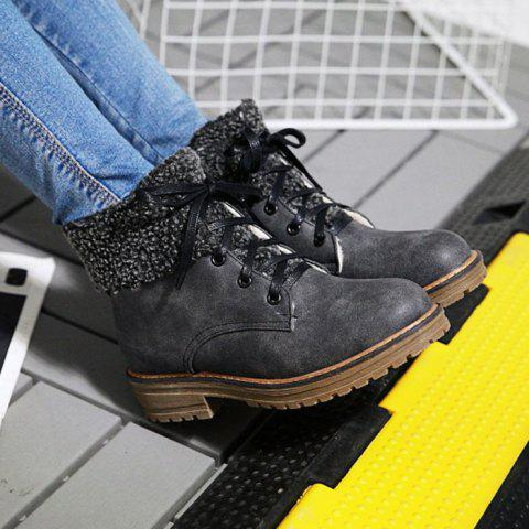 Shops Faux Fur Trim Lace Up Ankle Boots - 39 GRAY Mobile