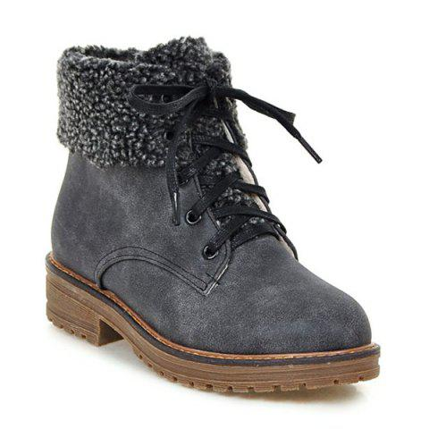 Best Faux Fur Trim Lace Up Ankle Boots - 39 GRAY Mobile
