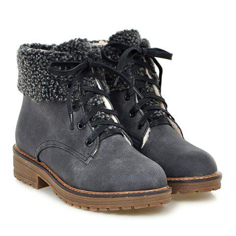 Outfit Faux Fur Trim Lace Up Ankle Boots - 39 GRAY Mobile