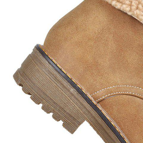 Store Faux Fur Trim Lace Up Ankle Boots - 37 LIGHT BROWN Mobile