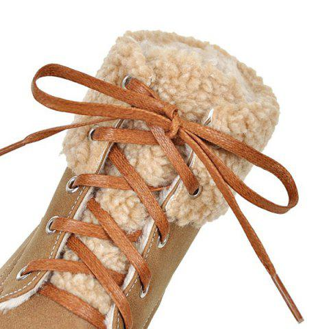 New Faux Fur Trim Lace Up Ankle Boots - 37 LIGHT BROWN Mobile