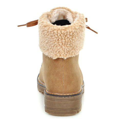 Outfit Faux Fur Trim Lace Up Ankle Boots - 38 LIGHT BROWN Mobile