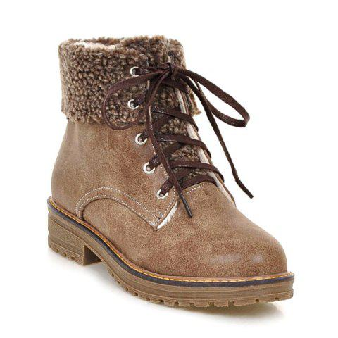 Hot Faux Fur Trim Lace Up Ankle Boots - 39 CAMEL Mobile